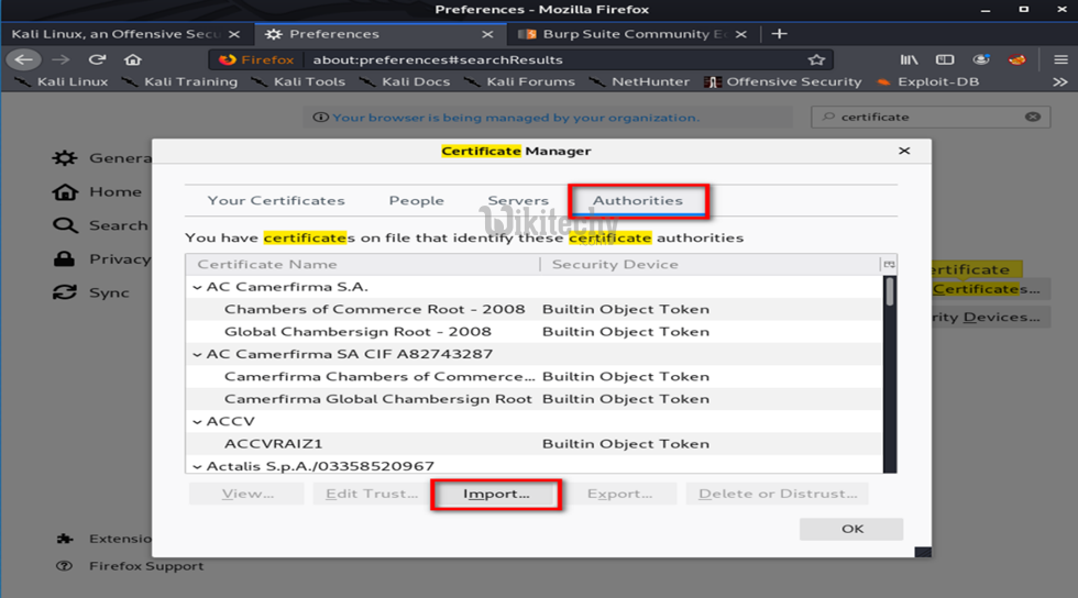 Choose Authourities and Click Import