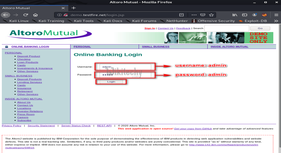 Fill Username and Password