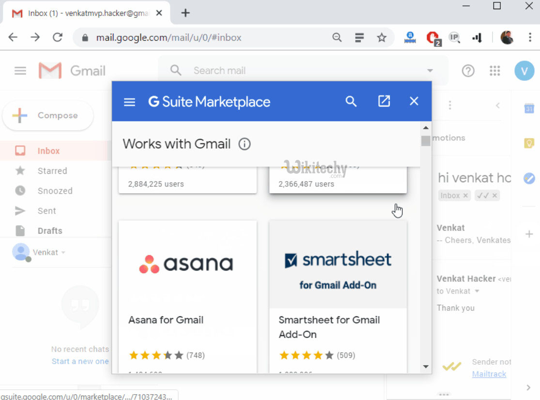 Message Sent and Tracked by G suite Marketplace