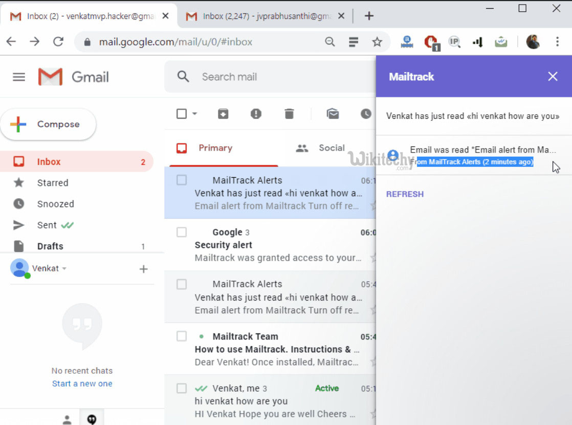 Message sent and Tracked by Mail Track
