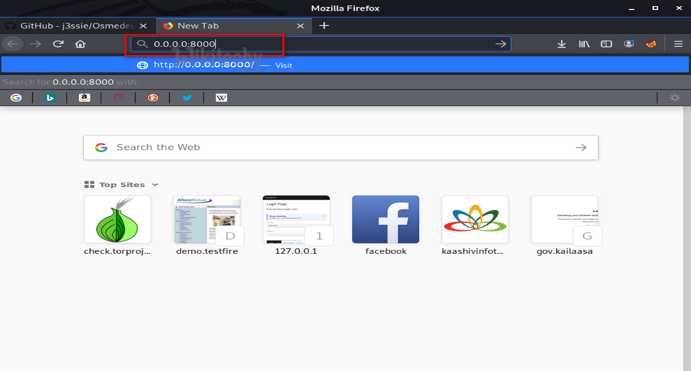 type in new tab