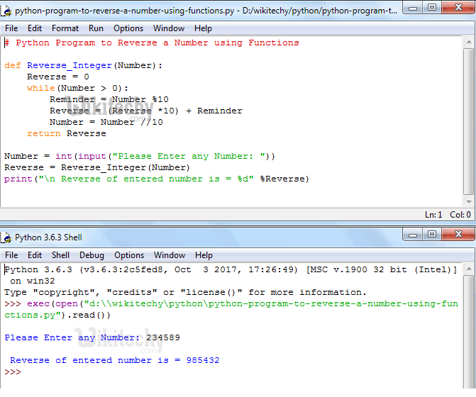 Python Program to Reverse a Number Using Functions